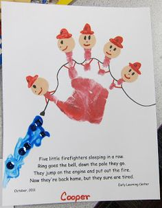 Firefighter theme -october is national fire safety month (community helpers). handprint art with poem. Community Helpers Preschool, School Community, Preschool Lessons, Preschool Classroom, Preschool Activities, Community Workers, Space Activities, Dc Fire, Firefighter Crafts