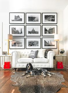Home office, office, white leather couch, English setter, wall art, black and white photo gallery, Karena Dixon Photography, Women in Business, Kate Spade Home