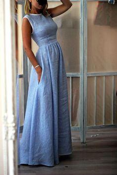 up to off, Hot sale Elegant High-Waisted Pocket Holiday Maxi Dress - Outfit ideen - Summer Dress Outfits Dress Skirt, Dress Up, Dress Long, Dress Casual, Simple Long Dress, Elegant Maxi Dress, Long Casual Dresses, Long Denim Dress, Dress Formal