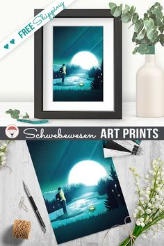Hiking Art Print, Dreamy Landscape, Wanderlust Poster, Hiker Gifts, Explore Nature, Gift for Explorers, Full Moon, Vintage Travel Poster