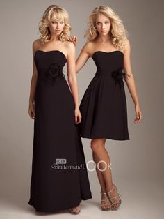 short strapless chiffon elegant black bridesmaid dress
