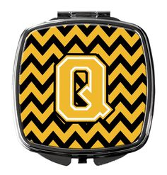 Letter Q Chevron Black and Gold Compact Mirror CJ1053-QSCM