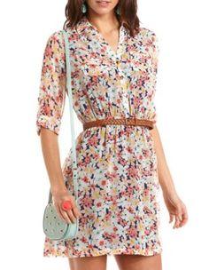 belted floral chiffon shirt dress