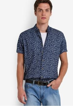 d91b163a7e46e Denim Print Short Sleeve Shirt from ZALORA in navy 1 Bali Girls