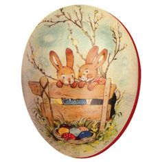 "6"" Papier Mache Bunnies Easter Egg Container ~ Germany"