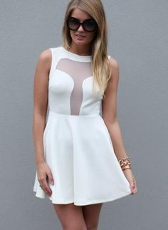 White Party Dress - White Skater Dress with Mesh http://www.ustrendy.com/store/product/90106/white-skater-dress-with-mesh-back-and-front-detail