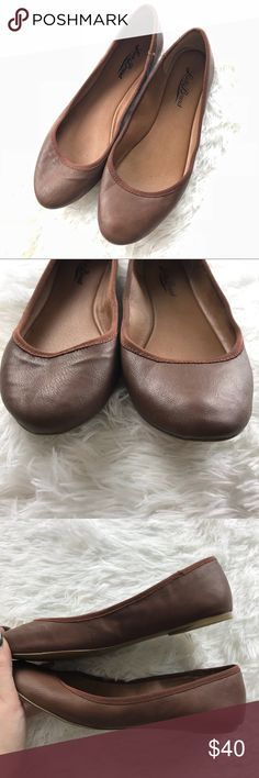 [Lucky Brand] Chocolate Brown Round Toe Flats • Lightly Used • Chocolate Brown Color • Round Toe • Slight Wear On Bottoms • Heel Height: .5ins • Man Man Materials Lucky Brand Shoes Flats & Loafers