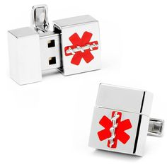 Silver Medical 8GB USB Flash Drive Cufflinks #RR-409-MED