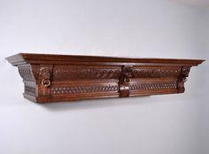 """58"""" Antique Renaissance Fireplace Mantel Shelf Crown Pediment Valence in Oak"""