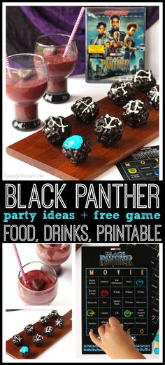 Black Panther Party Ideas + FREE Printable to Celebrate Blu-Ray Release Black Panther Party Ideas Slumber Party Games, Kids Party Games, Birthday Party Games, 21st Party, Kids Party Decorations, Party Themes, Ideas Party, Themed Parties, Black Art