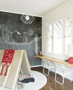 easy, budget-friendly and design-minded kids room (chalkboard wall, built in desk/shelf, folding chairs and teepee_