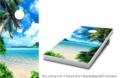 Corn Hole Tropical Island Paradise Cornhole Wrap set 2 decals 24 x 48 Beach Palm Tree graphic sticker for cornhole bag toss Backyard boards game *** Find out more about the great product at the image link.