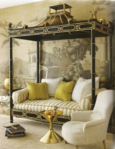 I want this pagoda canopied daybed frame! --- It's the mural wallpaper that makes my jaw drop/.