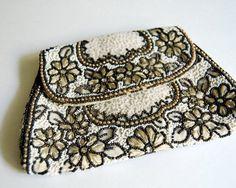 Vintage French Beaded Purse Formal Belt Bag, Dance Purse Art Nouveau Antique Evening Purse. $95.00, via Etsy.