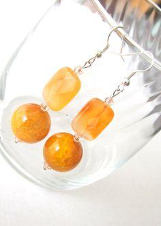 Shining in the Sun Orange Drop Earrings by BejeweledArts on Etsy, $25.00