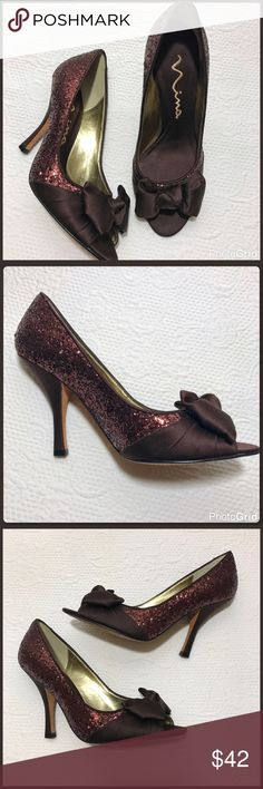 """Nina Glitter Peep Toe Heels Excellent used condition! Wore only once. Brown satin with copper colored glitter. Satin heel. Peep toe with bows on the front. Leather soles and satin toes too. Heel is 4"""" tall. Nina Shoes Heels"""