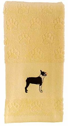 """Boston Terrier Hand Towel, from Dogstuff.com. This 100 percent cotton velour towel provides just the right background for a beautifully embroidered Boston Terrier image. Soft and elegant for home decor, it is also absorbent enough for everyday use around the house. A very smart gift, too. Towel measures 15"""" x 24""""."""