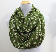 Olive Green Bird on Tree Branch Infinity Scarf