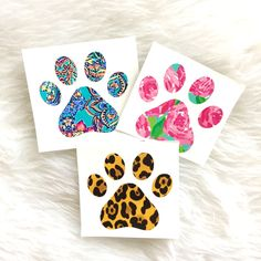 Paw Print Decal, Lilly Pulitzer Dog Decal, Dog Lover Decal, YETI Decal, Car Decal, Car Sticker, Paw Print, Decal, Laptop Decal, Dog Gift by SweetSouthernRoseTX on Etsy https://www.etsy.com/listing/483632551/paw-print-decal-lilly-pulitzer-dog-decal