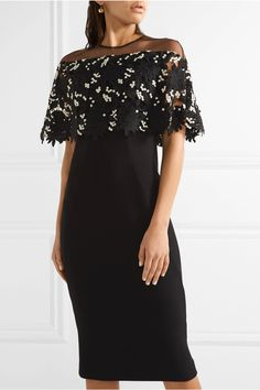 Lela Rose | Tulle-paneled guipure lace and stretch wool-blend crepe dress | NET-A-PORTER.COM