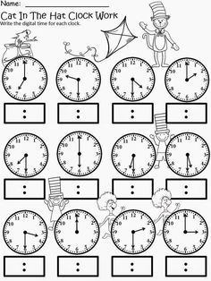 Kindergarten math - Free The Cat In The Hat Clock Work For educational purposes only not for profit Based on the story by Dr Seuss 3 different levels for differentiated instruction Analog and Digital Clocks Enjoy! Regina Davis aka Queen Chaos at Fa Teaching Time, Teaching Math, Teaching Money, Teaching Spanish, Teaching Ideas, Math Classroom, Kindergarten Math, Social Studies Classroom, Math Math