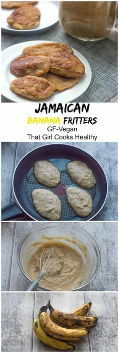 Jamaican banana fritters recipe a gluten free version of these delicious, super easy banana fritters that can be eaten any time of the day. Gourmet Recipes, Vegan Recipes, Dessert Recipes, Cooking Recipes, Cooking Tips, Jamaican Dishes, Jamaican Recipes, Jamaican Banana Fritters, Girl Cooking