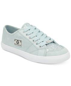 Womens Guess Milez Logo Sneakers White Grey Blue Multi Flats