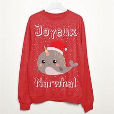 Joyeux Narwhal Christmas Sweatshirt. Shop Christmas Jumpers now.