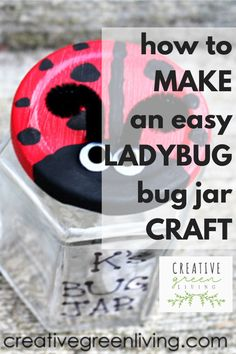 This adorable DIY bug jar craft looks like an adorable ladybug and is easy to make from a recycled glass jar. This is a fun nature inspired craft to make with kids to encourage them to get outside and looking at bugs and other insects! #creativegreenliving #recycledcraft #ladybugcraft #kidscraft Painting Crafts For Kids, Easy Crafts For Kids, Crafts To Make, Simple Crafts, Recycled Crafts, Recycled Glass, Diy Recycle, Recycling, Mason Jar Crafts