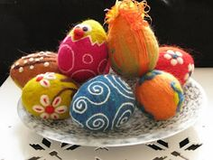 felt Easter eggs with hand stitching
