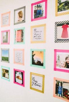 Eine coole Idee mit Washi Tape. Noch mehr tolle Masking Tape Ideen gibt es auf www.spaaz.de Masking Tape Wall, Washi Tape Dorm, Diy Washi Tape Room Decor, Dorm Room Wall Decorations, Washi Tape Mural, Diy Crafts Room Decor, Diy Washi Tape Crafts, Washi Tapes, Diy Mit Washi Tape