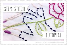 Tutorial ... Stem stitch   Sublime Stitching - Embroidery Tutorials by Jenny Hart