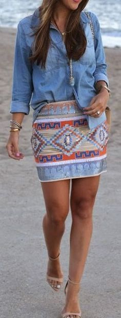 Looks I LOVE! Blue Denim Plain Pockets Buttons Blouse #denim #blue #blouse #tribal #skirt #sexy #heels #outfit #ideas