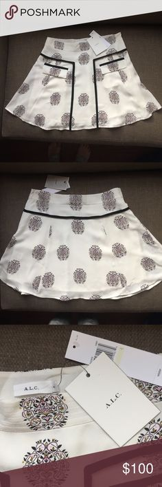 NWT 100% Silk A.L.C Skirt ❤️ A.L.C ivory skirt Super flattering for any body shape! size 4  100% silk A tiny blemish on the back from steaming A.L.C. Skirts