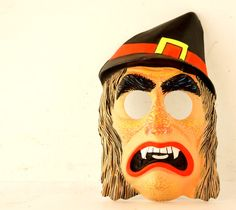 Great Vinate Halloween ~ Vestiesteam Etsy shop Vintage Witch Mask by Ben Cooper for Halloween by ThirdShift