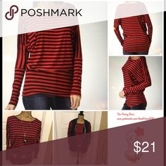 💥 FLASH SALE 💥💥💥💥 Fabulous red and black scoop neck tunic top with bloused hem, dolman sleeves which are scrunched past elbows, 48% Rayon, 48% Poly, 4% Span, Made in the USA. Runs true to size Bellino Clothing Tops Tunics