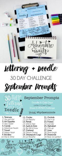 30 Day Hand-Lettering & Doodle Challenge: September Prompts | dawnnicoledesigns.com