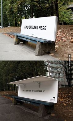 These Park Benches Welcome The Homeless Instead Of Rejecting Them is part of Guerilla marketing - Instead of being designed to thwart a good sleep, these park benches in Vancouver fold out into miniature shelters Guerilla Marketing, Graphisches Design, Urban Design, Graphic Design, Homeless People, Faith In Humanity Restored, Creative Advertising, Free Advertising, Helping The Homeless