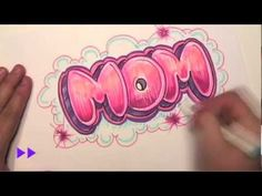 """Writing """"MOM"""", graffiti style.  Easy to do and you can apply it to other bubble letter styles."""