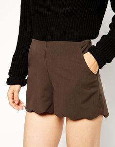 Image 3 of ASOS Shorts with Scallop Hem