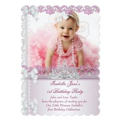 Girl's 1st Birthday Party Invitations First 1st Birthday Party Girl Princess Pink Photo Card