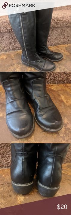 Mia tall black rider boot Some scuffing on toes and wear on bottoms, but overall good condition Mia Shoes Combat & Moto Boots