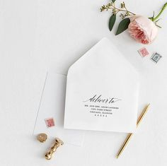 Addressing your wedding envelopes have never been easier with our DIY wedding address template. Printable Wedding Envelopes, Addressing Envelopes, Wedding Stationary, Wedding Programs, Wedding Invitations, Guest Book Sign, Rehearsal Dinner Invitations, Diy Wedding, Wedding Planning