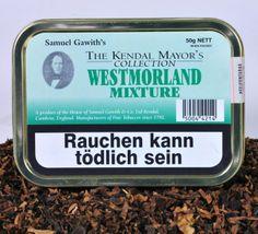 Pfeifentabak - Samuel Gawith Westmoreland Mixture. Helle Virginiatabake, Latakia und Black Cavendish wurden gereift, nachdem ein zarter Flavour hinzugefügt wurde. Sanft aber denoch vollmundig.