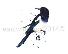 MAGPIE Watercolor Print magpie magpie painting by eastwitching