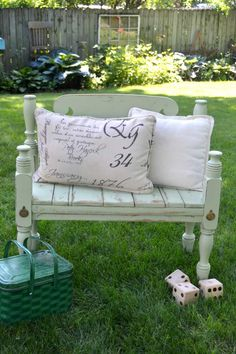 Do you have an old bed frame lying around that you aren't using anymore? This DIY Bed Frame Bench was easy to make and made an old piece useful again.
