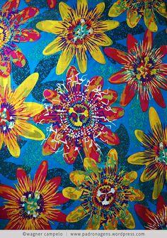 Floral Maracujá (blue) | pareo | Bali Blue - http://www.pinterest.com/wagnercampelo/my-patterns/