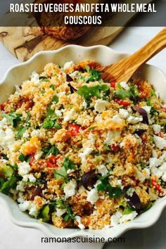 This roast veggies & feta couscous is one of those superb and quick lunch or dinner meals that doesn't require much thinking, when you just want to come up with something healthy (pretty uncomplicated, yet sophisticated) to put on the table in front of your family or friends. I can tell you one more thing about it, we all love it all the time any time! Easy Delicious Dinner Recipes, Lunch Recipes, Couscous, Feta, Roast, Veggies, Healthy Eating, Stuffed Peppers, Meals