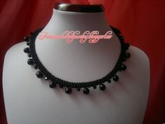 Crochet Gothic necklace with pearls and crystals Gothic, Beaded Necklace, Pearls, Crystals, Crochet, Jewelry, Beaded Collar, Goth, Jewlery