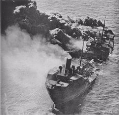 The American tanker R.P. Resor sinks after it was torpedoed, on Feb 26, 1942, five miles off Sea Girt, Delaware. Of the crew of 50, only 2 survived. It showed how menacingly close U-boats came to the country's East Coast in early 1942. But the unprecedented speed of U.S. shipbuilding soon surpassed Allied losses and forced the Germans, with 696 of 830 subs sunk, to concede the seas.